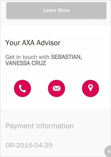 MyAXA App Contact Financial Advisor