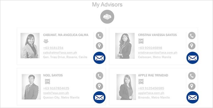 MyAXA Portal Contact Financial Advisor