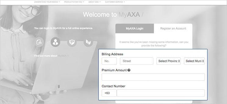 MyAXA Portal Add Information