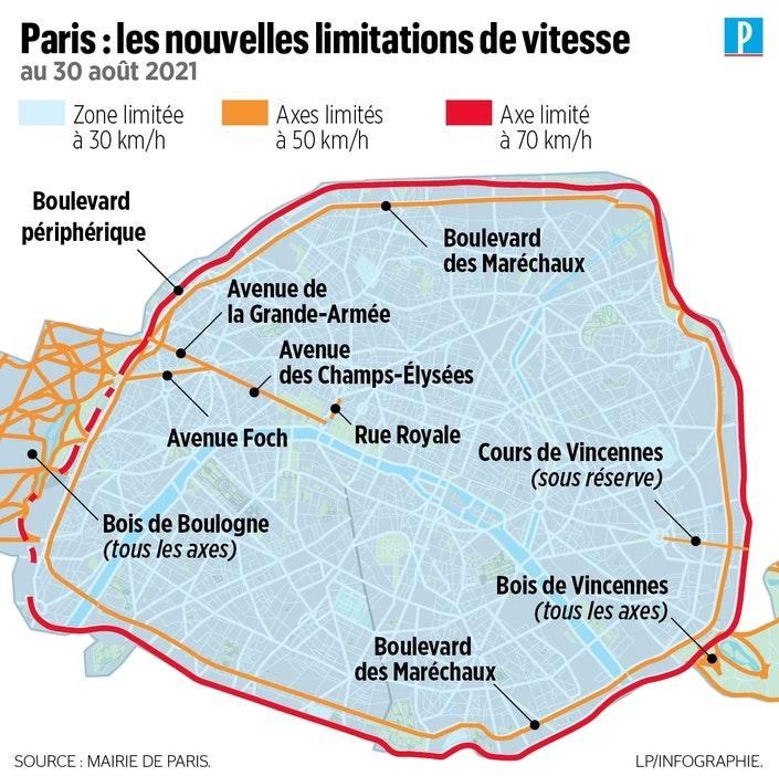 infographie de la limitation de vitesse par zones à Paris