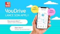 smartphone tenu en main avec visuel écran nouvelle appli youdrive