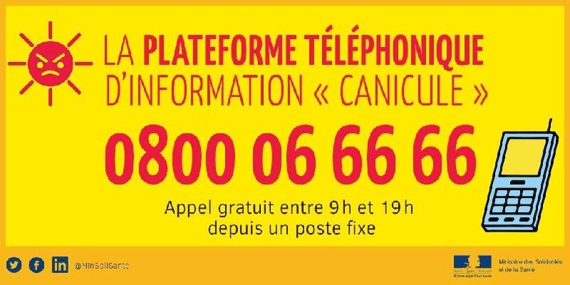 La plateforme Canicule info service est disponible entre 9H et 19H tous les jours