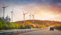 voiture autoroute éoliennes nature