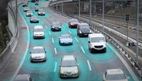 véhicules circulation autoroute effet halo