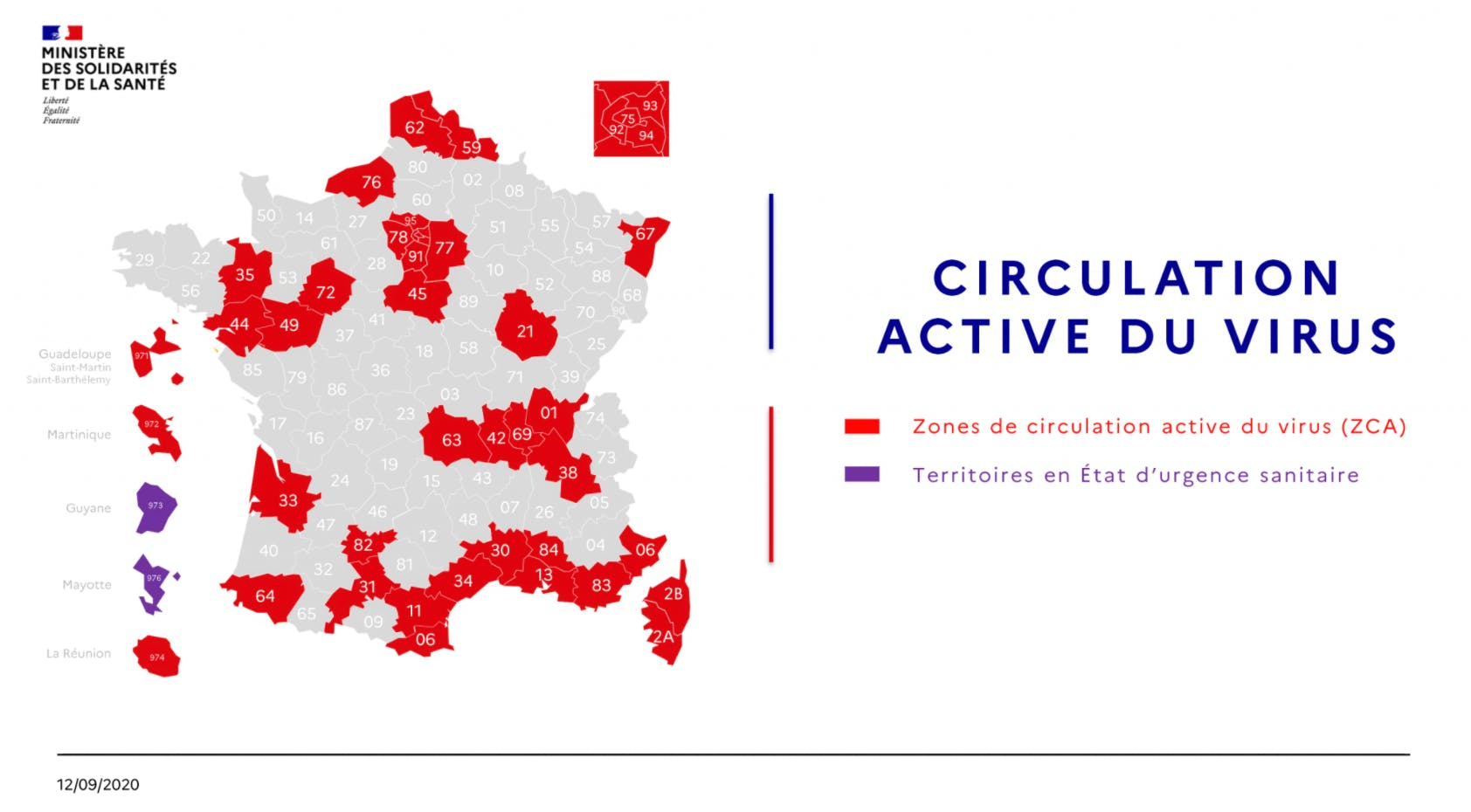 Carte de la circulation active du covid au 12 septembre
