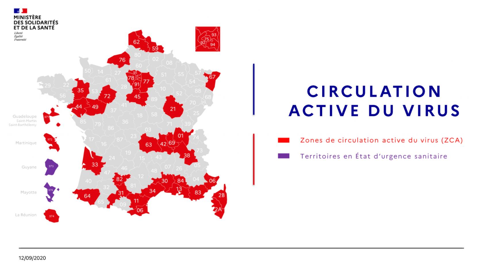 Carte de la circulation active du covid au 12 septembre