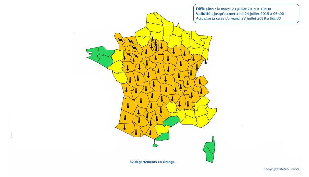 62 départements en alerte orange canicule entre les 23 et 24 Juillet 2019