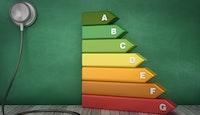 stéthoscope échelle étiquette performance  7 niveaux a à g