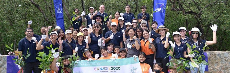 แอกซ่าประกันภัยร่วมกับมูลนิธิรักษ์ไทย ชวนจิตอาสาร่วมปลูกต้นโกงกางที่บางปู จ.สมุทรปราการ