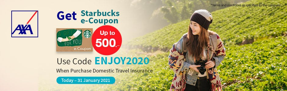 Every Domestic Travel Insurance Purchasing Over 500THB and Use Code ENJOY2020, Gets Starbucks Coupon Up to 500THB.